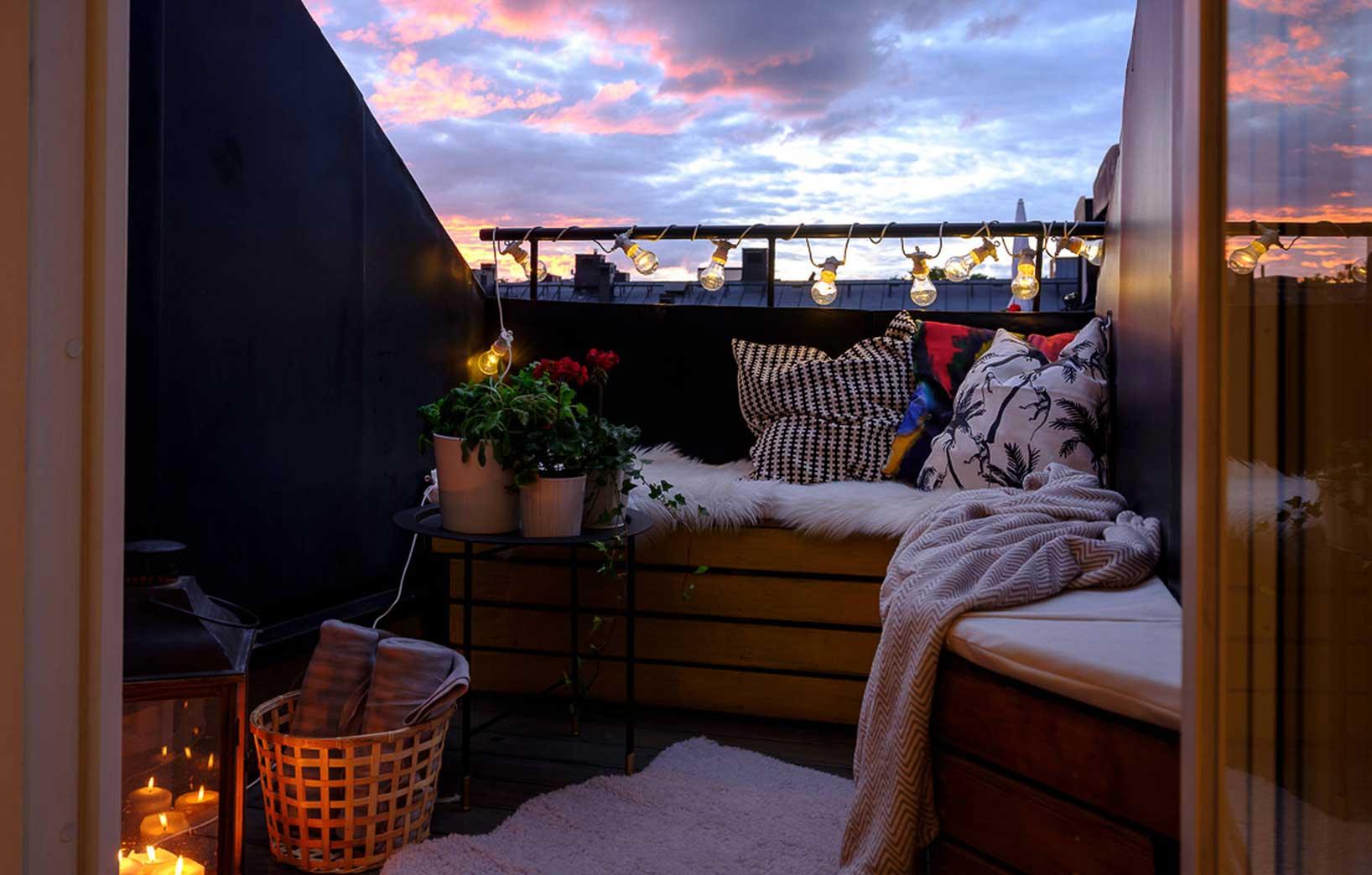 Уютное оформление балкона